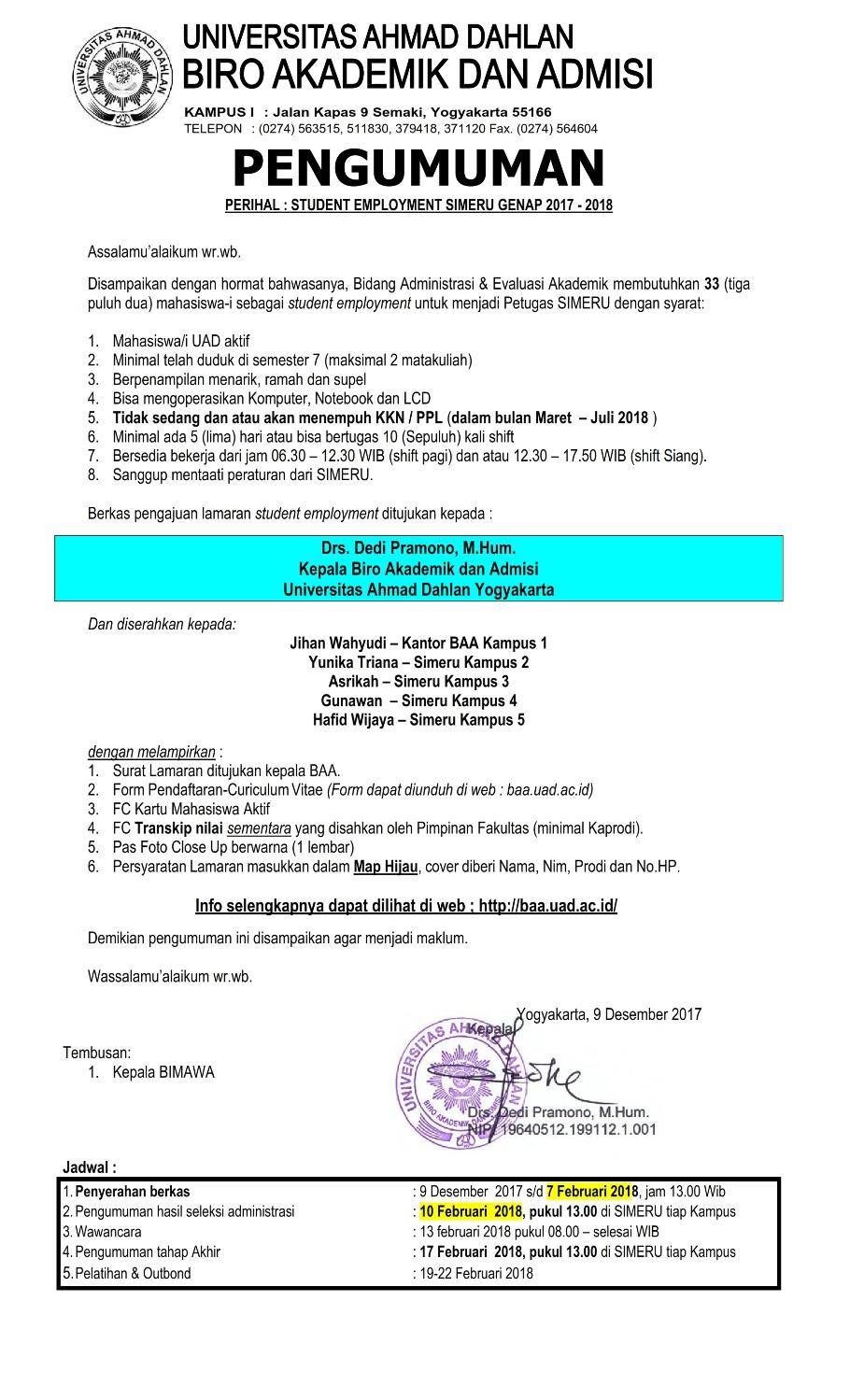 form pengumuman rekruitmen SIMERU Genap 2017-2018 revisi