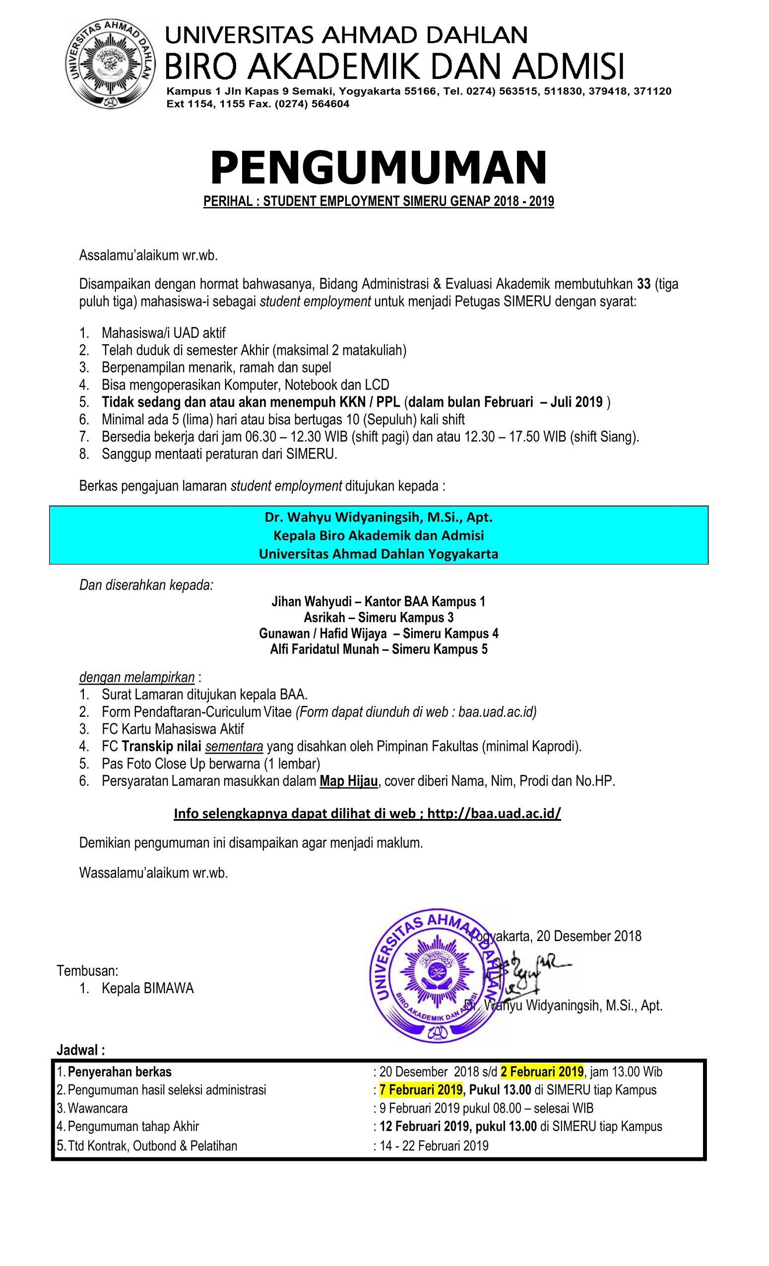 pengumuman rekruitmen SIMERU Genap 2018-2019